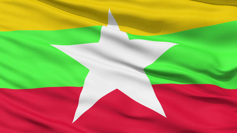 Waving national flag of Myanmar Stock Video Footage