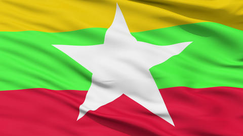 Waving national flag of Myanmar Animation