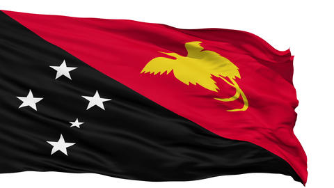 Waving national flag of Papua New Guinea Animation