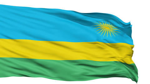 Waving national flag of Rwanda Animation
