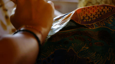 Making batik 5 Stock Video Footage