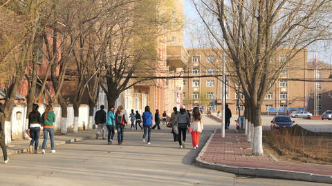 Chinese Students Evening Walk Timelapse Stock Video Footage