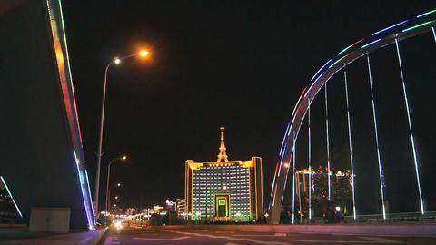 Heihe City Night Bridge with Motorcycles Stock Video Footage