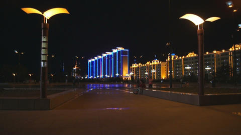 Heihe City Evening Promenade 03 Stock Video Footage