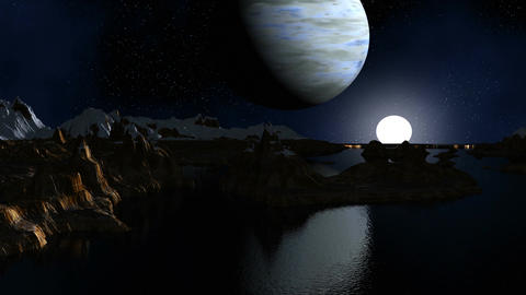 The gas giant and the moon against a fantastic landscape Stock Video Footage