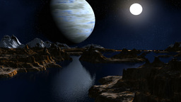 The gas giant and the moon against a fantastic landscape Animation