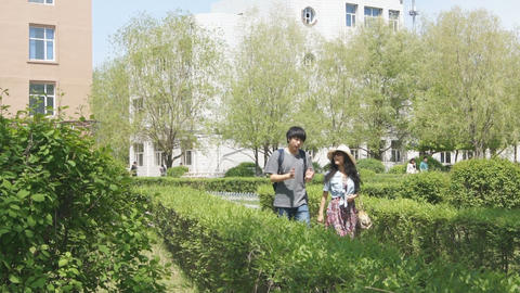 Happy Chinese Young Couple Walking Stock Video Footage