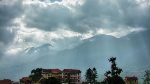 Hotels in mountains time lapse Stock Video Footage
