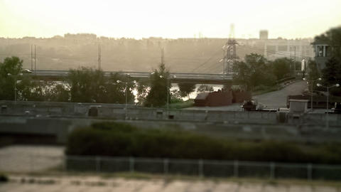 Cars at sunset tilt shift and timelapse Stock Video Footage