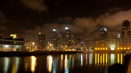 Night San Diego city time lapse with buildings and traffic Stock Video Footage