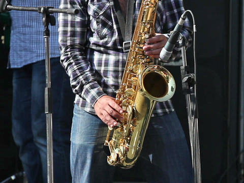 Man playing with saxophone on the concert Stock Video Footage