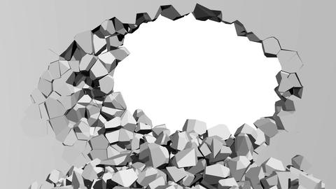Crumbling concrete wall with hole Animation