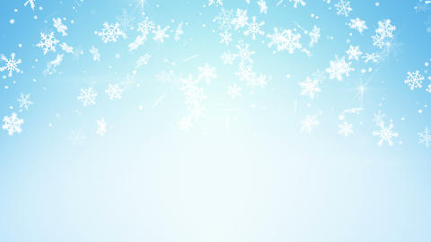 snowfall on light blue seamless loop christmas background 4k (4096x2304) Animation