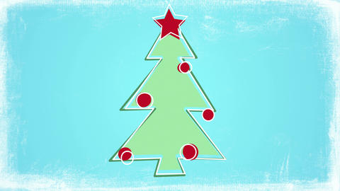 child's drawing style christmas tree animation 4k (4096x2304) Animation