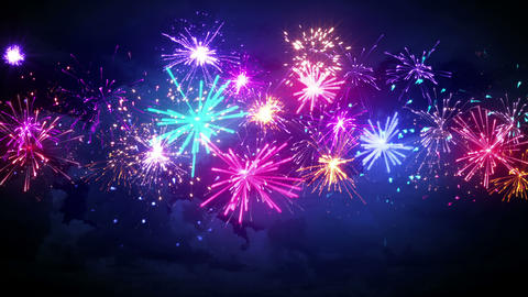 beautiful fireworks in night sky seamless loop animation 4k (4096x2304) Animation