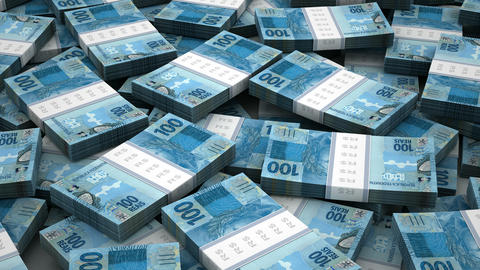 Stack Of Brazilian Real stock footage