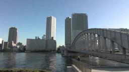 Sumida River and Kachidoki Bridge Footage