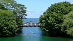 海に合流するワイルク川とカヌーと橋 Footage