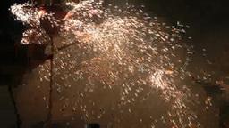 Big lanterns with fireworks moving in Miaoli, Taiwan Footage