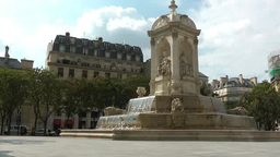 Water running on fountain in France Footage