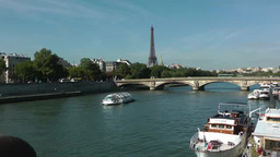 Boat passing through River Seine in Paris, France Footage