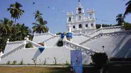 White church in Goa, India Footage
