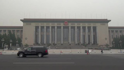 Great Hall of the People in Tiananmen Square, Beijing, China Footage
