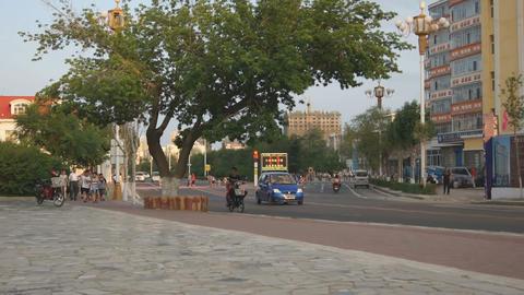 黑河 Heihe City Evening Street Traffic 01 Live Action