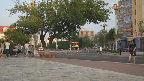 黑河 Heihe City Evening Street Traffic 01 Stock Video Footage