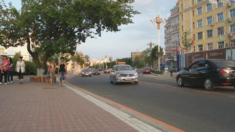 黑河 Heihe Evening Street Traffic 03 Stock Video Footage
