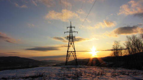 Power Lines 9 Stock Video Footage