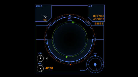 Radar GPS screen display,computer game navigation interface Stock Video Footage