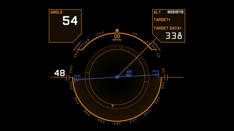aviation radar GPS navigation screen display,center of target,computer game inte Animation