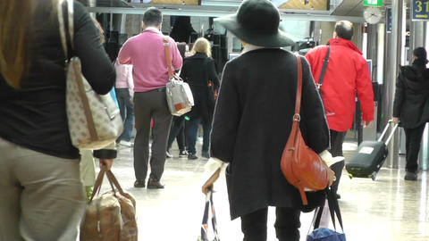 Airport Passengers 60fps native slowmotion Stock Video Footage
