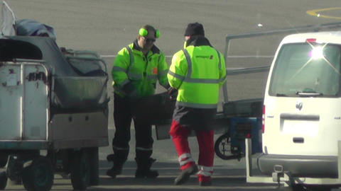 Airport Staff working handheld Stock Video Footage