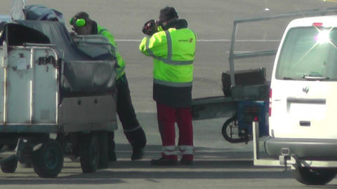 Airport Staff working handheld Footage