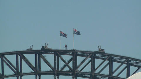 Australians Flags on Harbour Bridge zoom out Stock Video Footage