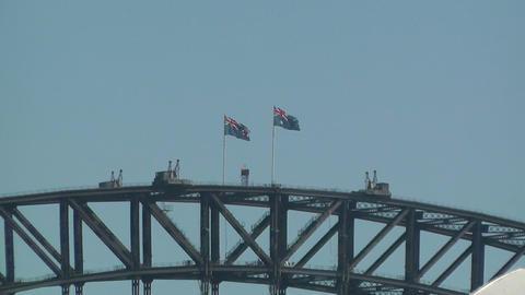 Australians Flags on Harbour Bridge zoom out Stock Video Footage