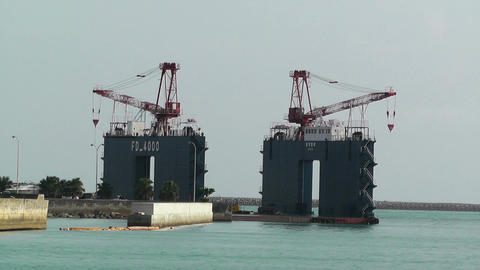 Cargo Towers in a Port in Okinawa Islands 01 Stock Video Footage
