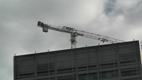 Construction Crane and Clouds Stock Video Footage