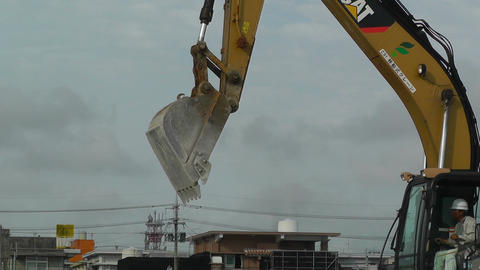 Excavator in work Okinawa Islands 04 Footage