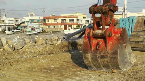 Excavator parking Okinawa Islands 02 Stock Video Footage