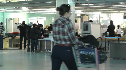 Helsinki Vantaa Airport 11 security check handheld Stock Video Footage