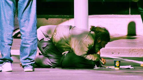 Homeless Beggar 70s old film stylized 02 Stock Video Footage