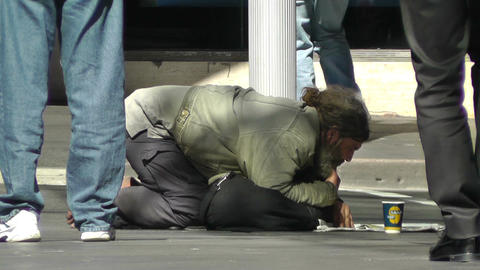 Homeless Beggar Stock Video Footage