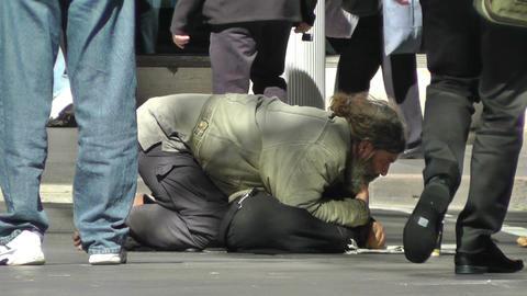 Homeless Beggar Stock Video Footage