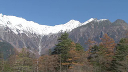 Snow covered mountain in Kamikochi, Japan Footage