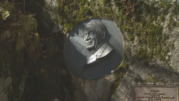 Relief of Reverend Walter Weston in Kamikochi, Japan Footage