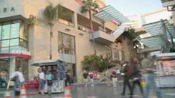 Sidewalk of Hollywood Boulevard in Los Angeles Footage