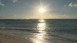 Sun shining above sea in Honolulu, Hawaii Footage
